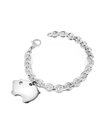 Forzieri Sterling Silver Piggy Charm Bracelet