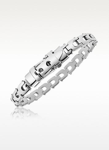 Sterling Silver Flat U-Link Belt Buckle Bracelet - Forzieri