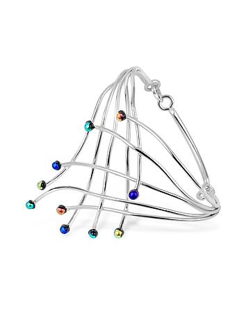 Forzieri - Fireworks Glass Stones Sterling Silver Cuff Bracelet