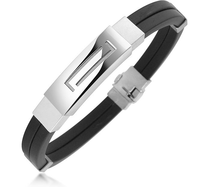 Men's Rubber and Stainless Steel Bracelet - Forzieri