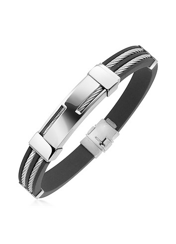 Forzieri Men's Rubber and Sterling Silver Strand Bracelet :  mens fashion sterling silver rubber bracelet