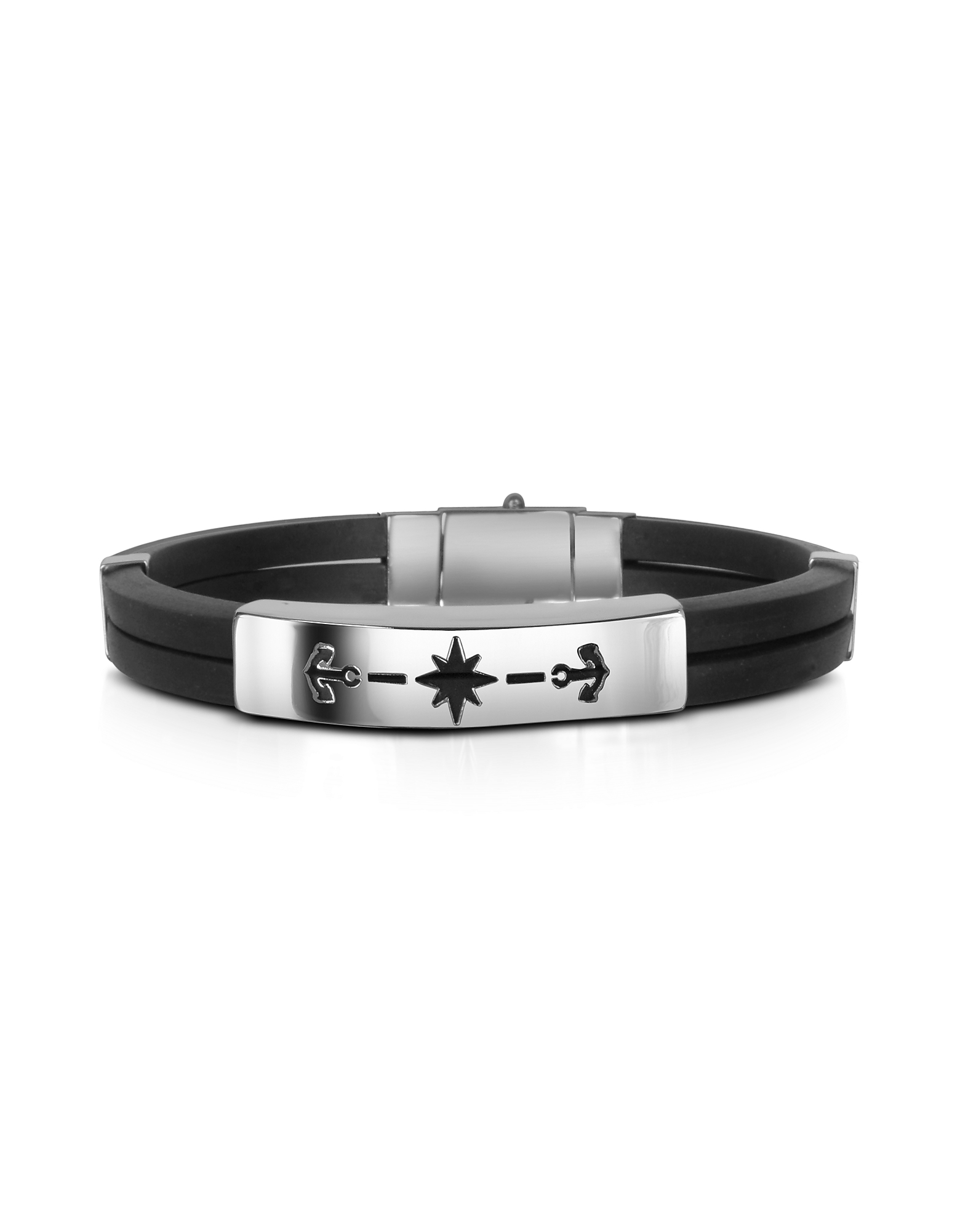 Forzieri Men's Bracelets, Men's Rubber and Stainless Steel Anchor Bracelet