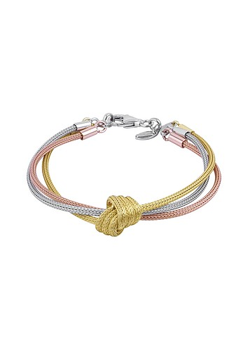 Forzieri Central Knot Gold Plated Triple-strand Bracelet :  chic silver women womens