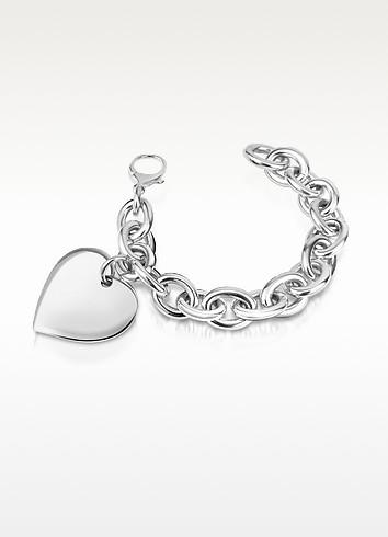 Sterling Silver Big Heart Charm Chain Bracelet - Forzieri