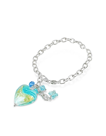House of Murano - Mare - Turquoise Murano Glass Heart Charm Sterling Silver Bracelet