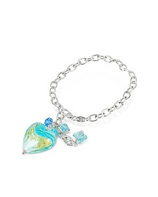 Mare - Turquoise Murano Glass Heart Charm Sterling Silver Bracelet - House of Murano