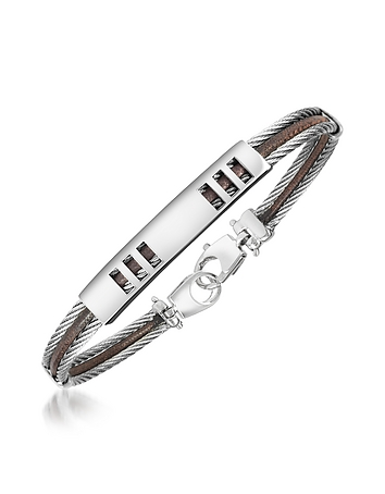 Forzieri - Di Fulco - Stainless Steel Bracelet with Plaque