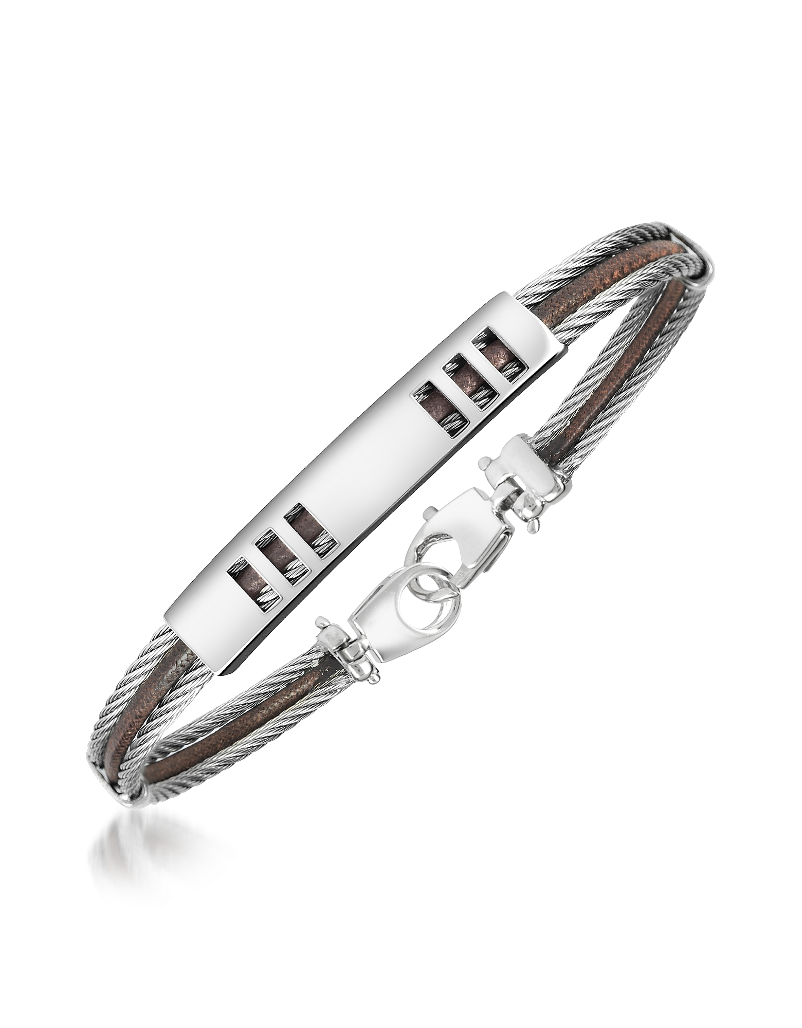 Forzieri Designer Men's Bracelets, Di Fulco - Stainless Steel Bracelet with Plaque