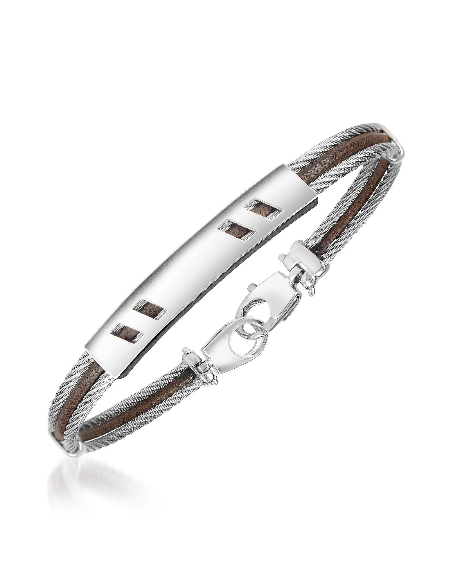 Forzieri Men's Bracelets, Di Fulco - Stainless Steel Bracelet w/ Plaque