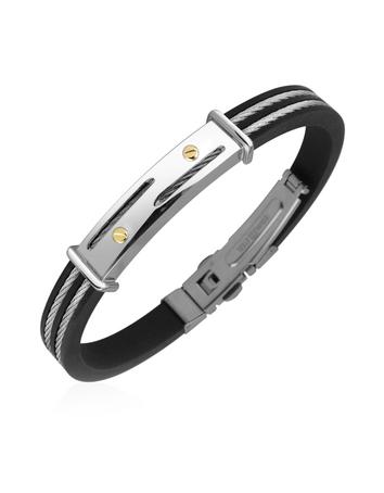 Forzieri Men's Stainless Steel and Rubber Plaque Bracelet
