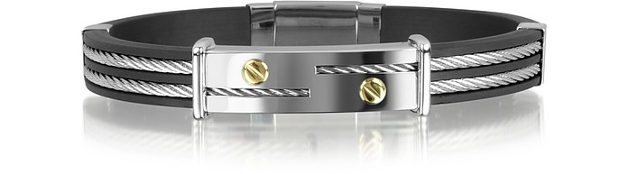 Men's Stainless Steel and Rubber Plaque Bracelet - Forzieri