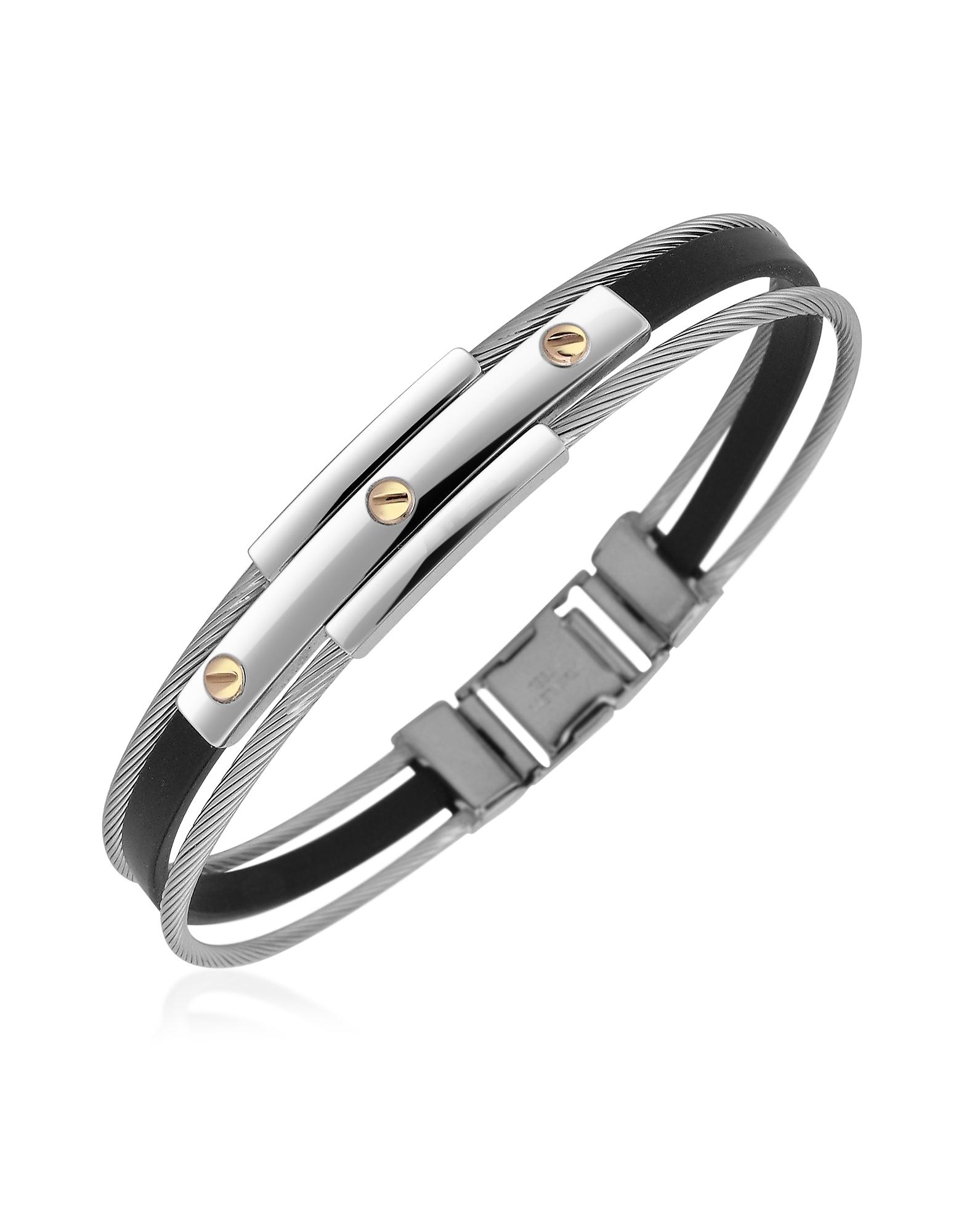 Forzieri Bracelets, Men's Stainless Steel and Rubber Screws Bracelet