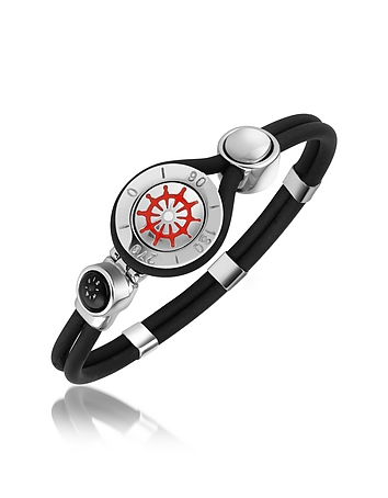 Forzieri - Rudder & Compass Stainless Steel and Rubber Bracelet