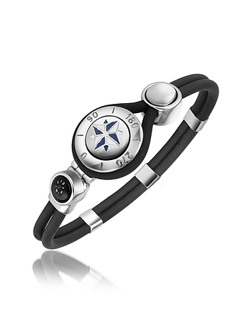 Forzieri - Windrose Stainless Steel and Rubber Bracelet