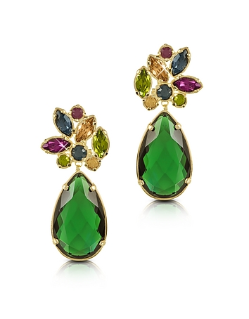 Forzieri Designer Earrings, Crystal Drop Earrings fz350214-001-00