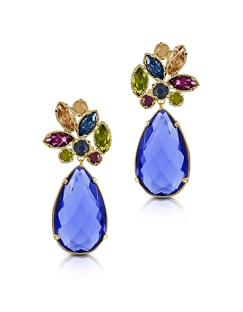 Forzieri Designer Earrings, Crystal Drop Earrings fz350214-001-01