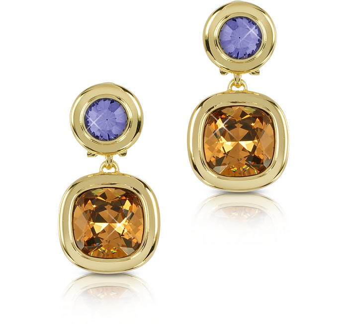 Purple and Orange Crystal Earrings - Forzieri