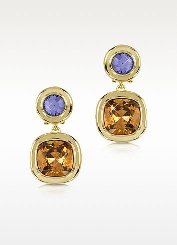 Purple and Orange Crystal Earrings - Forzieri
