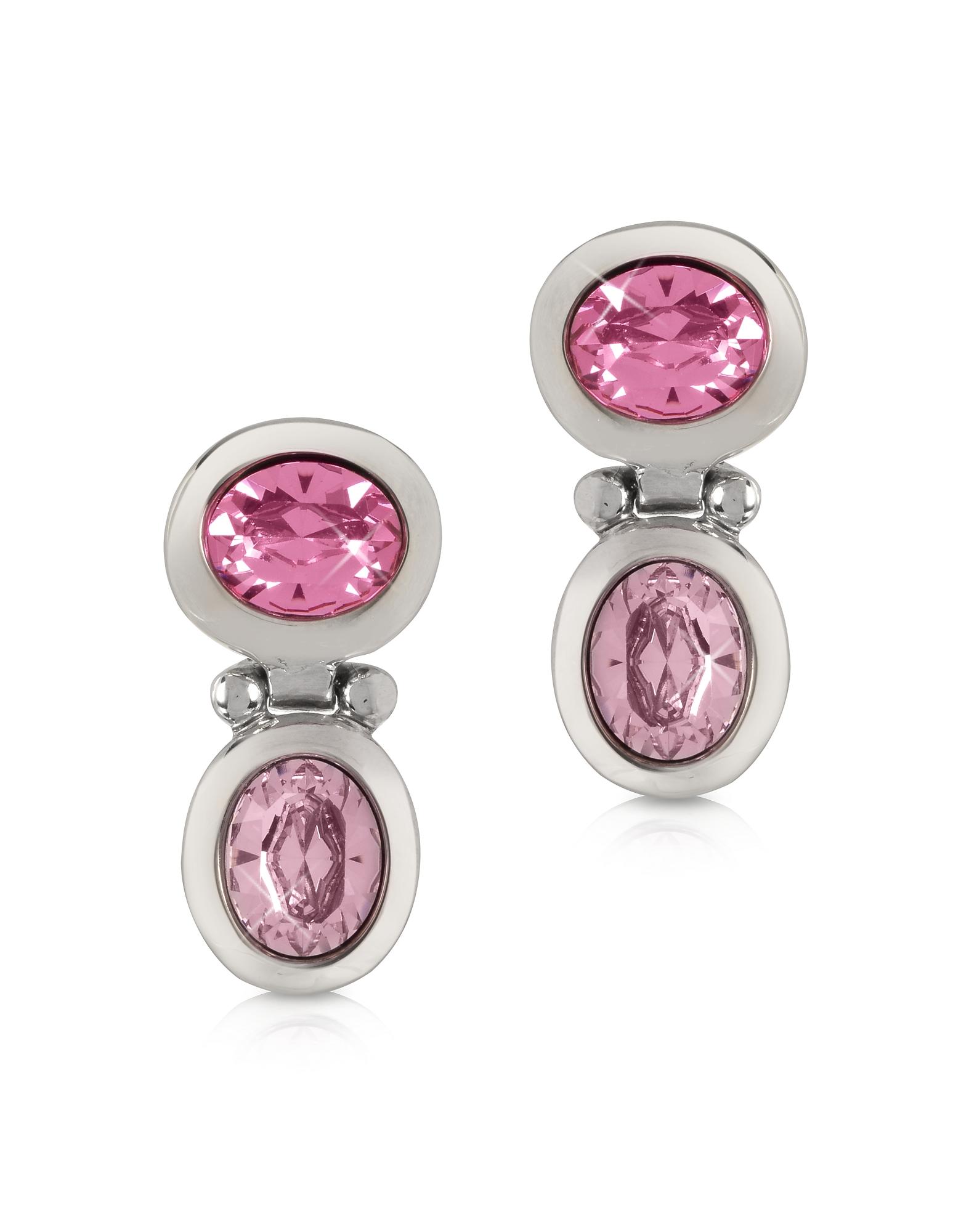 Серьги с Розовыми Кристаллами