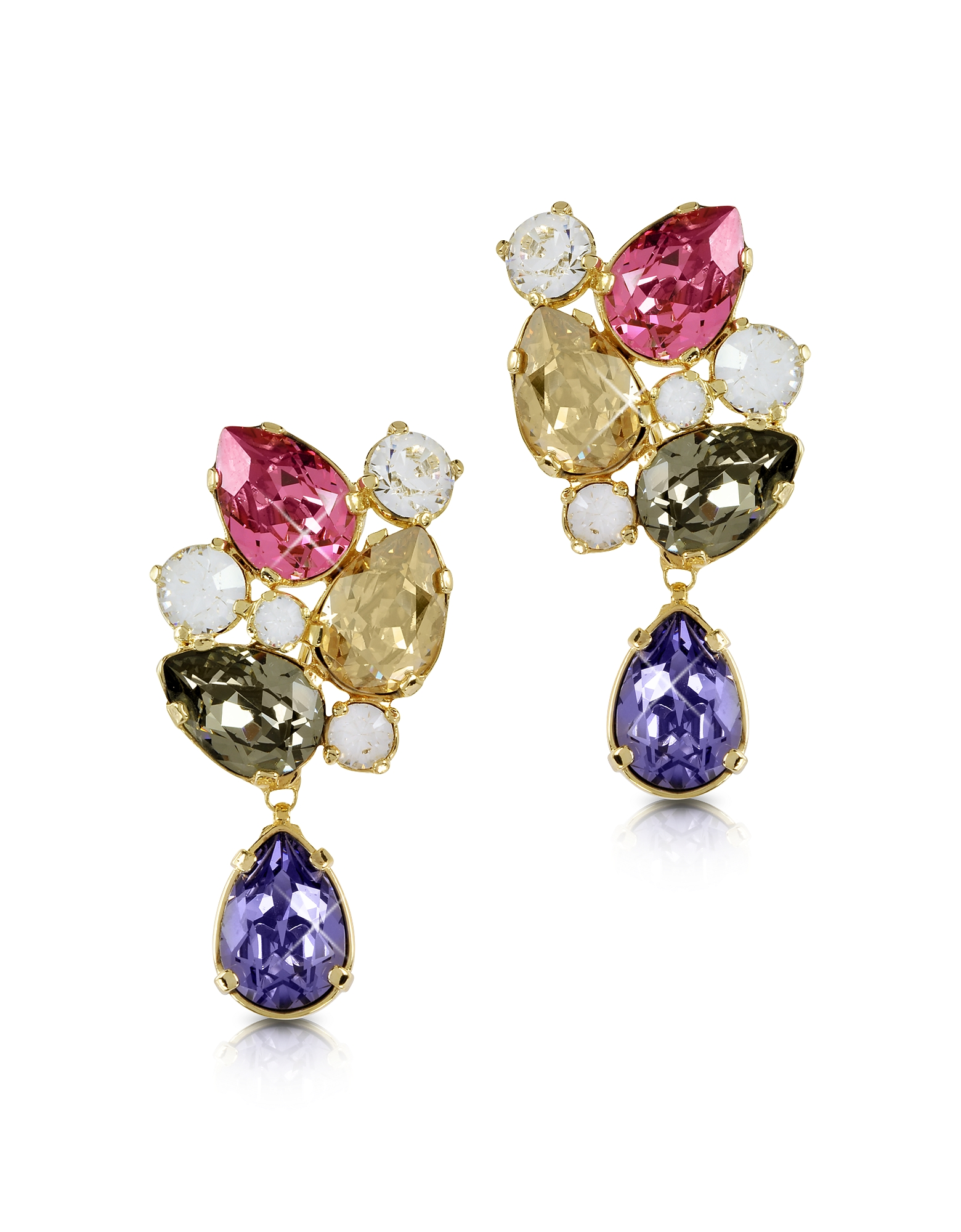 Forzieri Earrings, Multicolor Crystal Earrings