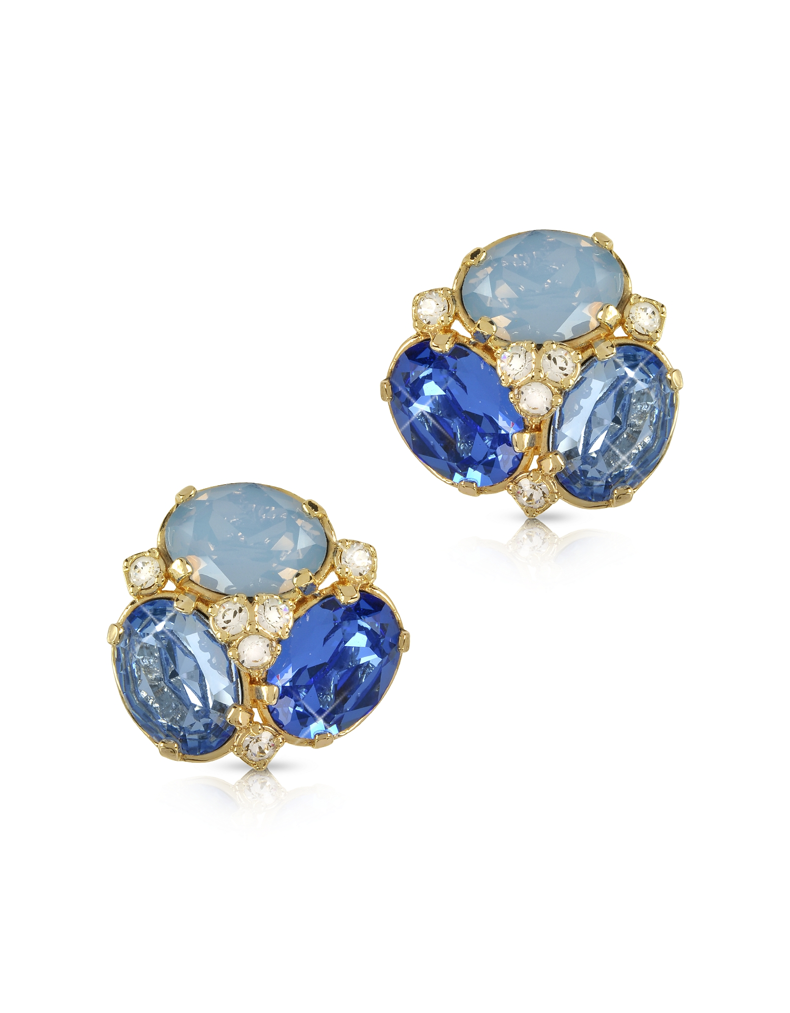 Blue Crystal Clip-on Earrings