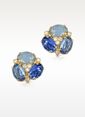 Blue Crystal Clip-on Earrings - Forzieri