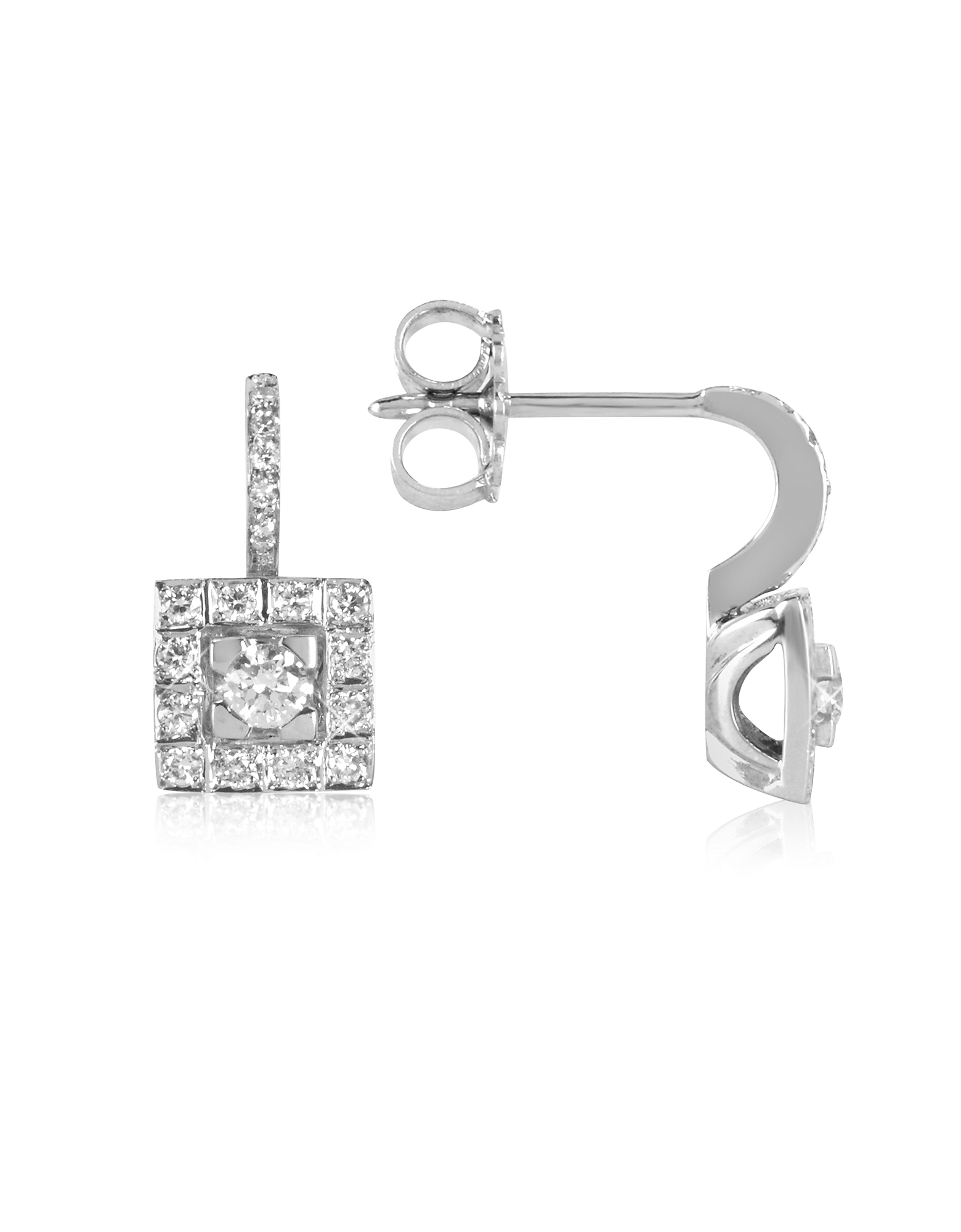 Forzieri Earrings, 0.48 ctw Diamond 18K White Gold Earrings