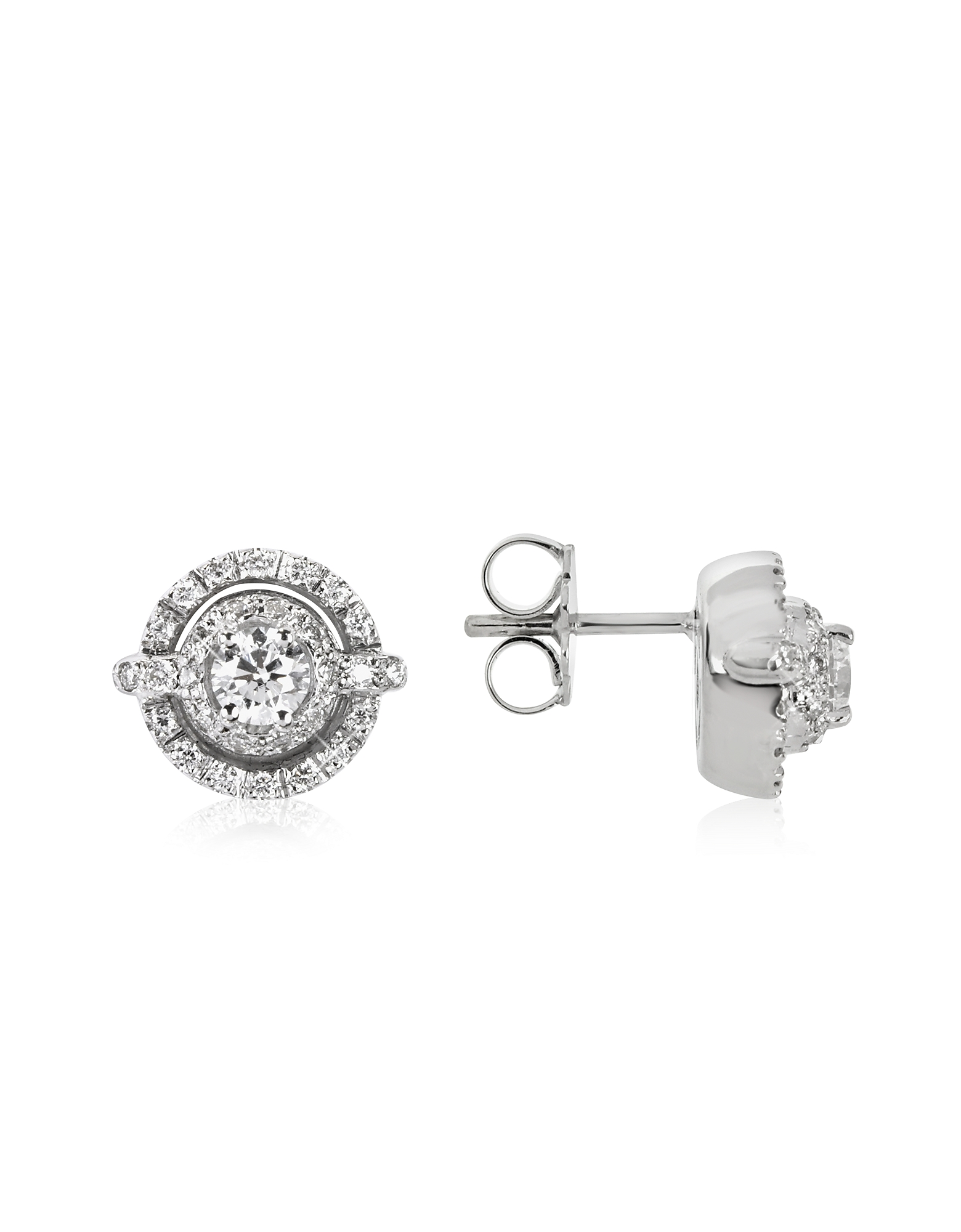 Forzieri Earrings, 0.84 ctw Diamond 18K White Gold Earrings