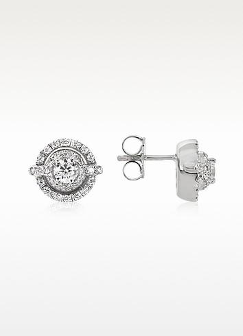 0.84 ctw Diamond 18K White Gold Earrings - Forzieri