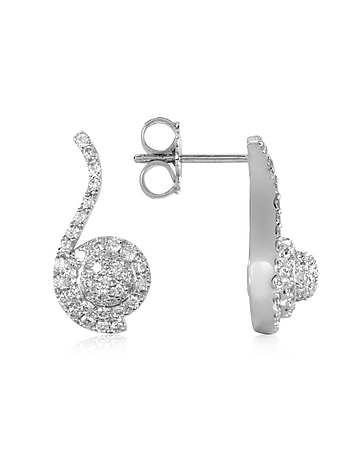 Forzieri - 0.68 ctw Diamond Pave 18K White Gold Earrings
