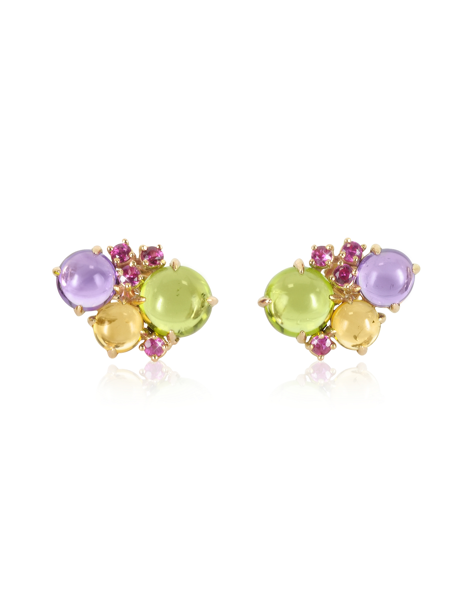 Mia & Beverly Earrings, Gemstones 18K Rose Gold Earrings