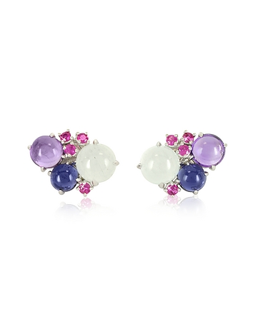 Mia & Beverly - Gemstones 18K White Gold Earrings