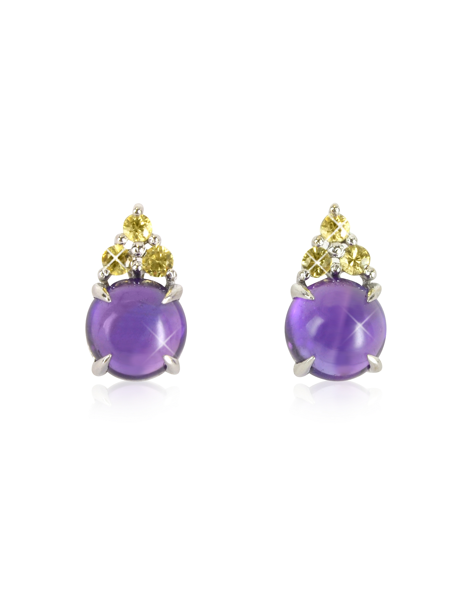 Mia & Beverly Earrings, Amethyst and Yellow Sapphires 18K White Gold Earrings