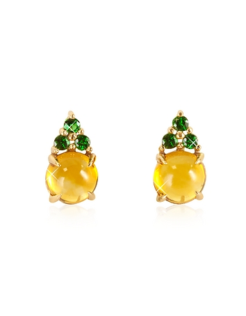 Mia & Beverly - Citrine Quartz and Green Sapphires 18K Rose Gold Earrings