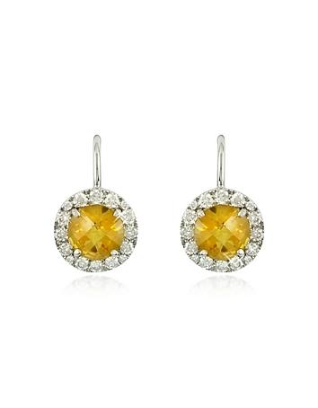 Forzieri - 043 ct Diamond Pave 18K White Gold Earrings w/Citrine Quartz