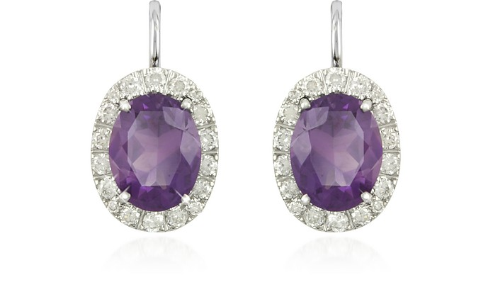 0.51 ct Diamond Pave 18K Gold Earrings w/Amethyst - Forzieri