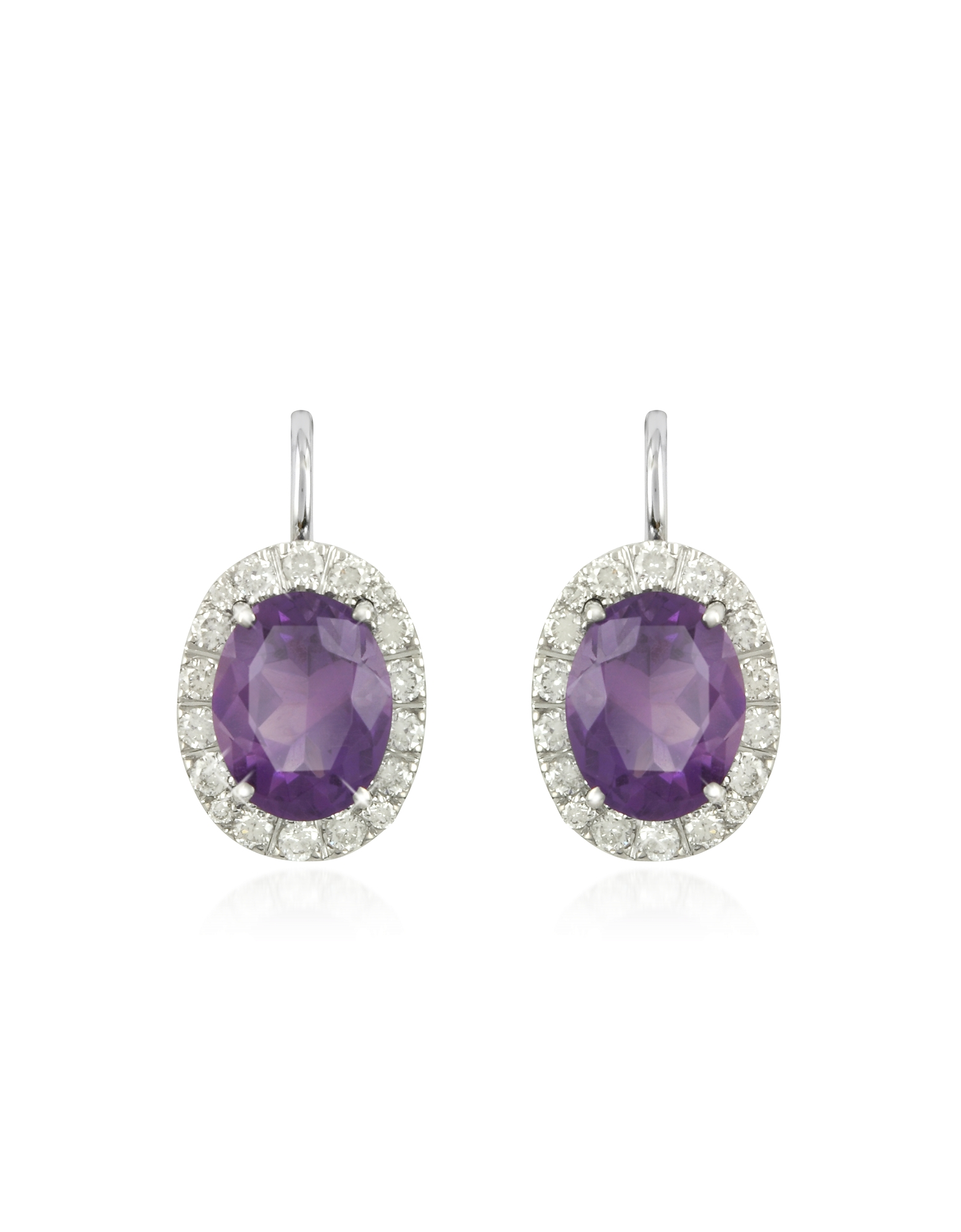 Forzieri Earrings, 0.51 ct Diamond Pave 18K Gold Earrings w/Amethyst