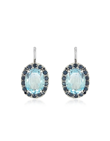 Forzieri - 0.58 ct Diamond Pave 18K Gold Earrings w/Blue Topaz