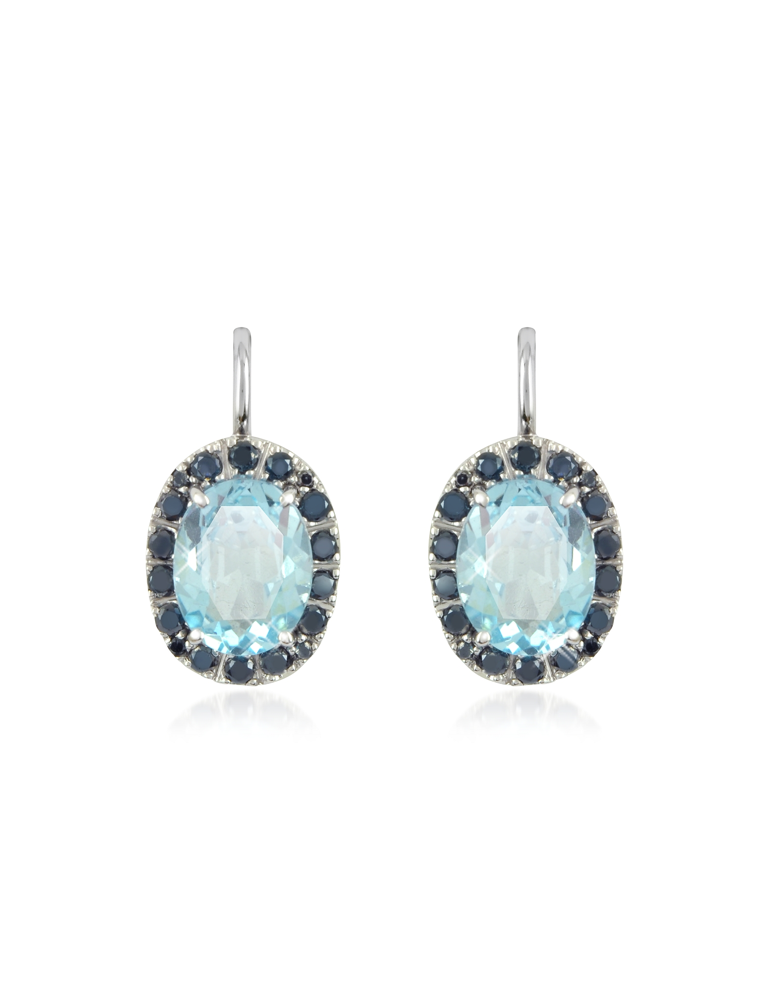 Forzieri Earrings, 0.58 ct Diamond Pave 18K Gold Earrings w/Blue Topaz