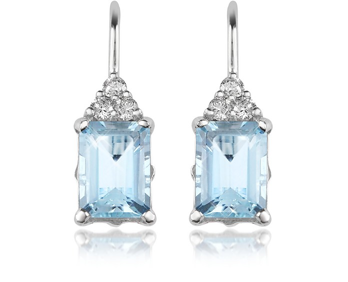 Aquamarine and Diamond 18K Gold Drop Earrings - Incanto Royale