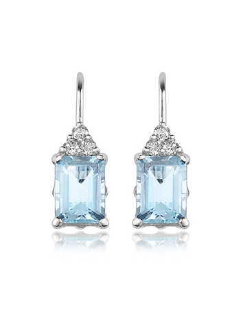Aquamarine and Diamond 18K Gold Drop Earrings