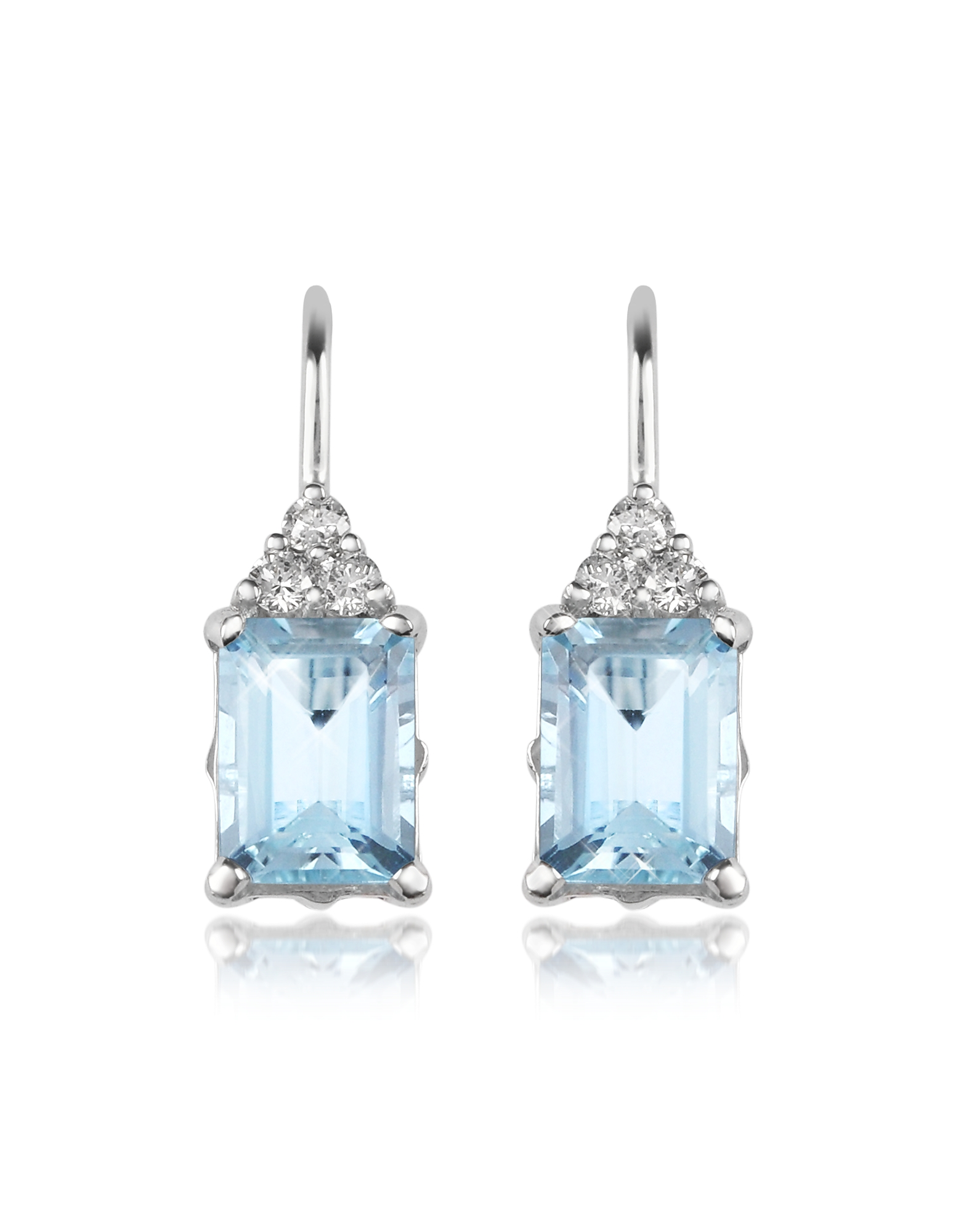 Incanto Royale Designer Earrings, Aquamarine and Diamond 18K Gold Drop Earrings