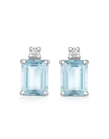 Aquamarine and Diamond 18K Gold Earrings
