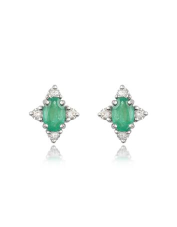 Victoria - Emerald and Diamond 18K Gold Earrings