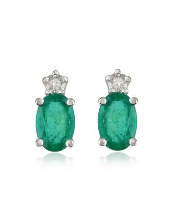 Emerald and Diamond 18K Gold Earrings