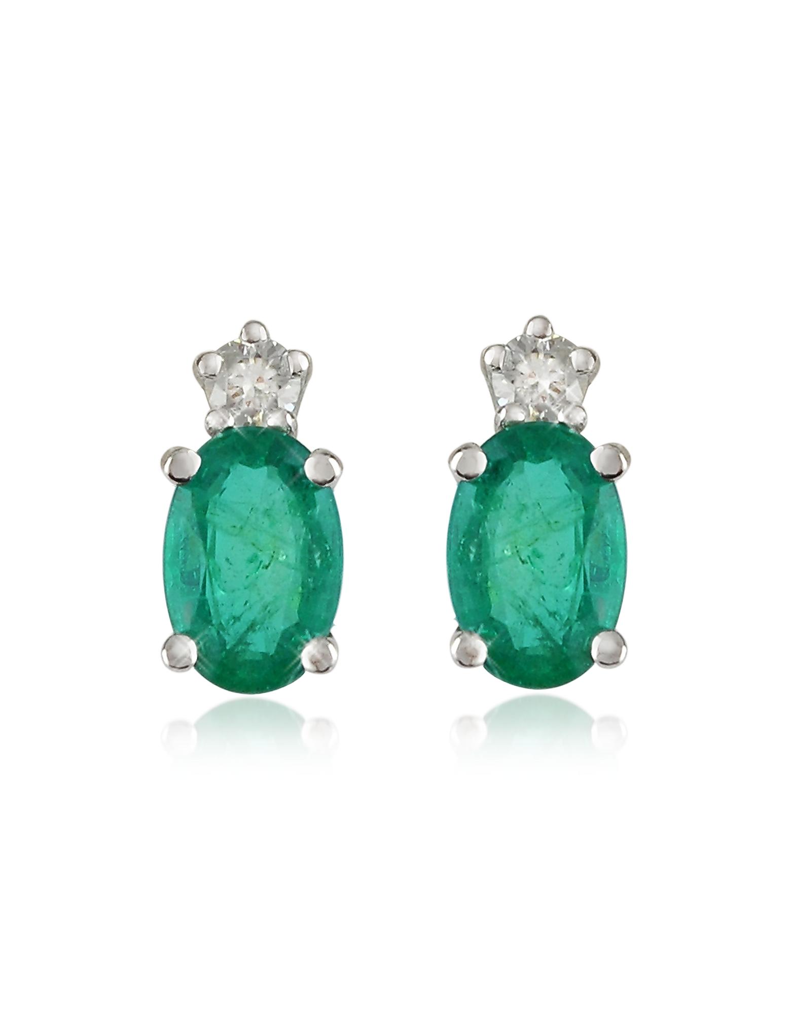Emerald and Diamond 18K Gold Earrings