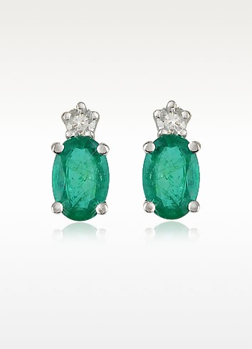 Emerald and Diamond 18K Gold Earrings - Incanto Royale