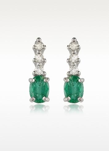 Emerald and Diamond 18K Gold Drop Earrings - Incanto Royale