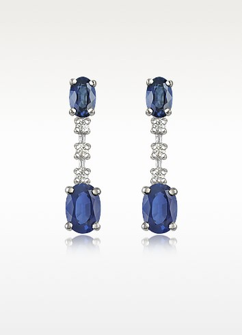 Sapphire and Diamond 18K Gold Drop Earrings - Incanto Royale
