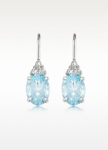 Aquamarine and Diamond 18K Gold Earrings - Incanto Royale